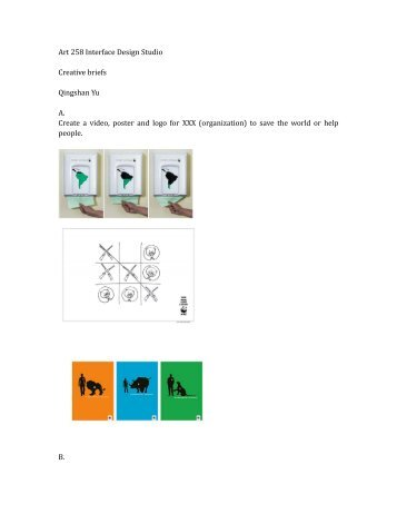 Art 258 Interface Design Studio Creative briefs Qingshan Yu A ...