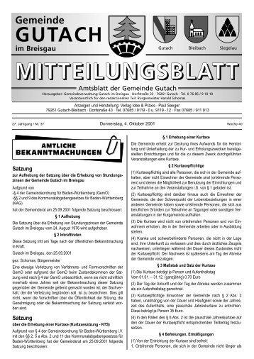 Beginn am 10.10.2001 - bei der Gemeinde Gutach im Breisgau
