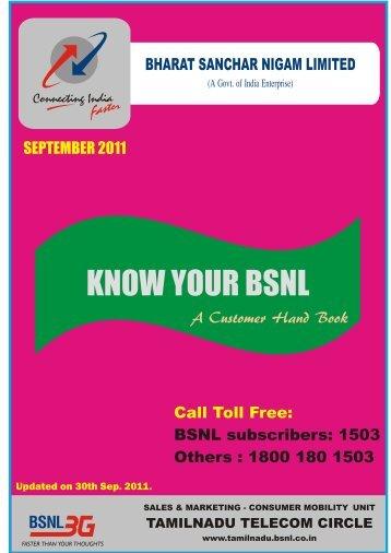 SEPTEMBER 2011 Call Toll Free: BSNL ... - SNEA Tamilnadu