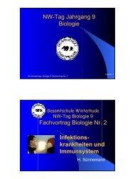 NW-Tag Jahrgang 9 Biologie Fachvortrag Biologie Nr. 2 Infektions ...