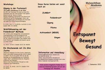 Entspannt Bewegt Gesund - Melanchthon-Akademie