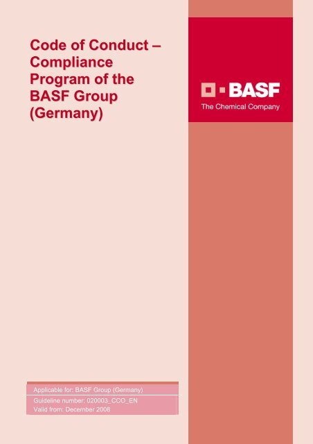 Code of Conduct – Compliance Program of the BASF Group