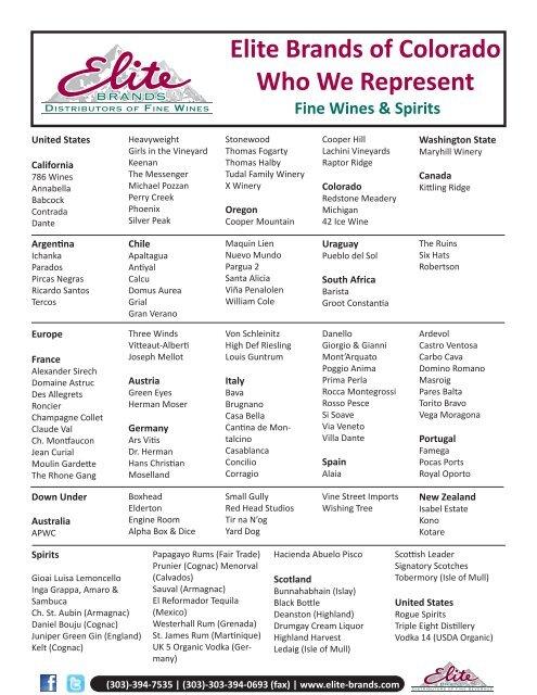 Elite Brands of Colorado Who We Represent