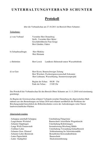 UNTERHALTUNGSVERBAND SCHUNTER Protokoll