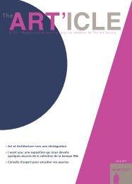 N° 23 – Magazine quadrimestriel pour les membres ... - the art society