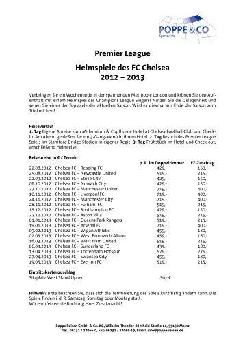 Premier League Heimspiele des FC Chelsea 2012 ... - Poppe Reisen