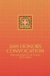 2009 HONORS CONVOCATION - University of Texas at El Paso