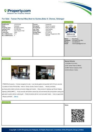 For Sale - Taman Permai Mas,Next to Suntex,Batu 9, Cheras ...