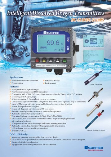 Intelligent Dissolved Oxygen Transmitters DC-5110/DC-5110RS