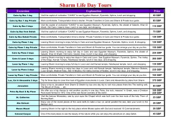Sharm Life Day Tours - Sharm El Sheikh Excursions