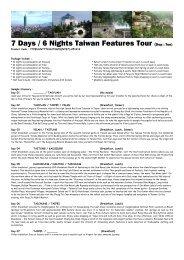 7 Days / 6 Nights Taiwan Features Tour (Dep : Tue) - AsiaTravelMart