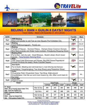 beijing + xian + guilin 8 days/7 nights - Travelite Travel and Tours
