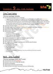 Standard 9 Day Trek Package - Make Your Own Website   SiteSkins