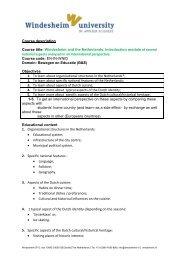 Download course description Introduction to Windesheim University