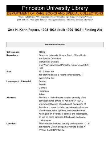 Otto H. Kahn Papers, 1908-1934 (bulk 1920-1933) - Princeton ...