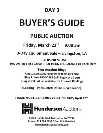 Download Day 3 Buyer's Guide - Henderson Auctions