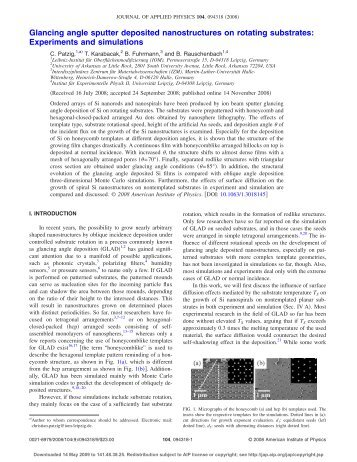 Glancing angle sputter deposited nanostructures on rotating ...