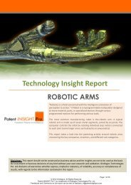 Technology Insight Report: Robotic Arms - Patent iNSIGHT Pro