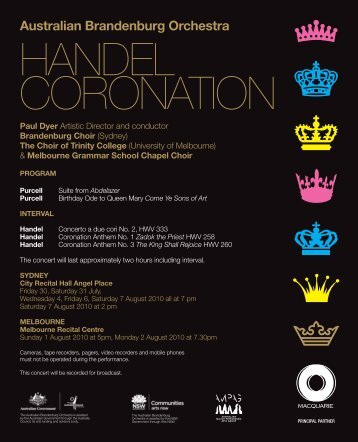 HANDEL CORONATION - Australian Brandenburg Orchestra