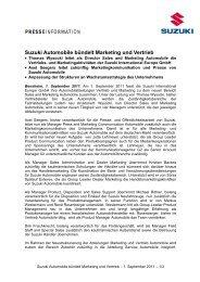 Suzuki Automobile bündelt Marketing und Vertrieb - Presse