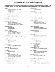 recommended family listening list - Suzuki Music School of Barrington