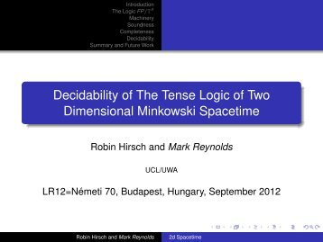 Decidability of The Tense Logic of Two Dimensional Minkowski ...