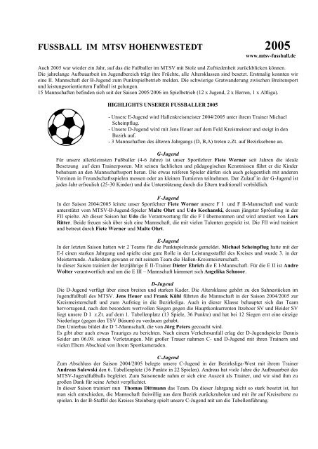 Fussball Im Mtsv Hohenwestedt Mtsv Fussball In