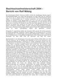 Bezirkseinzelmeisterschaft 2004 - Bericht von Ralf Mätzig
