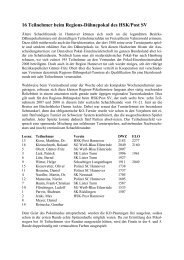 16 Teilnehmer beim Regions-Dähnepokal des HSK/Post SV