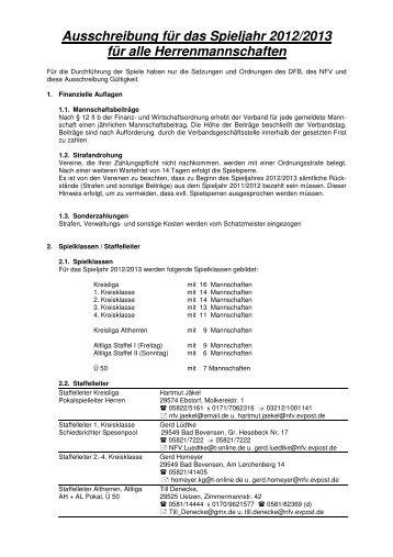 Ausschreibung für das Spieljahr 2012/2013 für ... - NFV Kreis Uelzen
