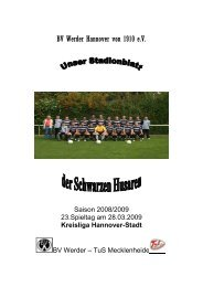 Spielplan 2.Herren Saison 08/09 - BV Werder Hannover