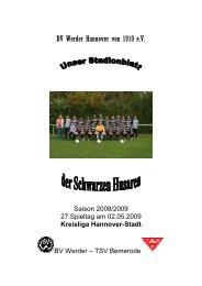 Spielplan 2.Herren Saison 08/09 - BV Werder