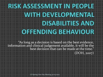 risk assessment in people with developmental disabilities and ...