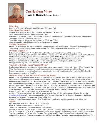 David G. Dwinell - Curriculam Vitae