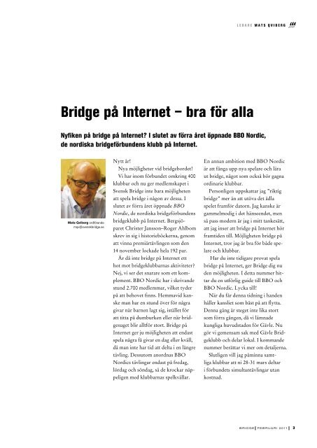 – Världens bästa bridgedam - Förbundet Svensk Bridge