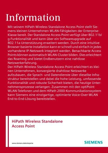 Information Hipath Wireless Standalone Access Point