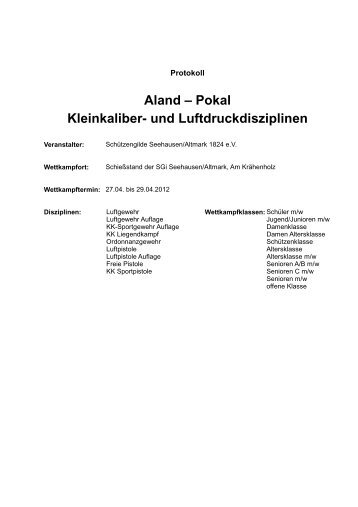 Aland – Pokal Kleinkaliber