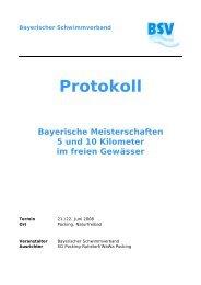 Bayerischer Schwimmverband Protokoll Bayerische Meisterschaften ...