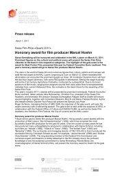 Honorary award for film producer Marcel Hoehn - T&C Film