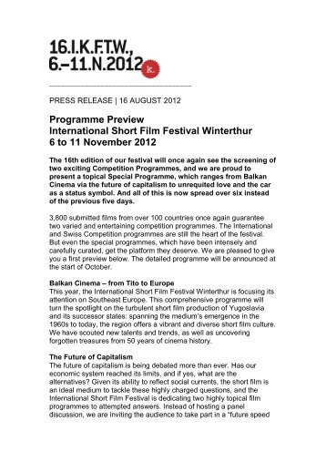 Programme Preview International Short Film Festival Winterthur 6 to ...