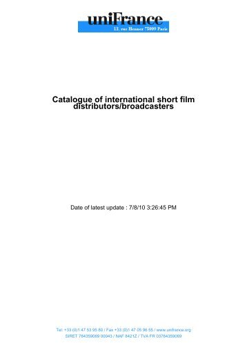 Catalogue of international short film distributors/broadcasters