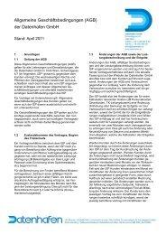 Allgemeine Geschäftsbedingungen (AGB) der Datenhafen Gmbh