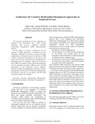 Architecture for Customer Relationship Management Approaches in ...