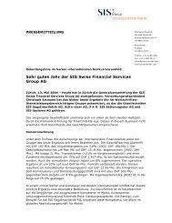 Sehr gutes Jahr der SIS Swiss Financial Services Group AG