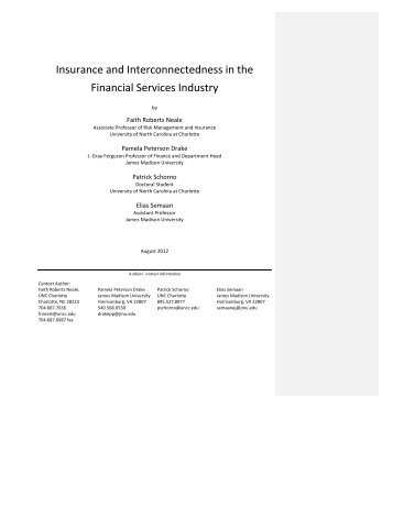 Insurance and Interconnectedness in the Financial Services Industry