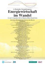 Energiewirtschaft im Wettbewerb Energiewirtschaft im Wandel