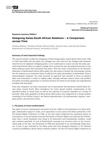 Designing Swiss-South African Relations – A Comparison across Time