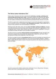 The Swiss Labour Assistance SLA - Schweizerisches Arbeiterhilfswerk