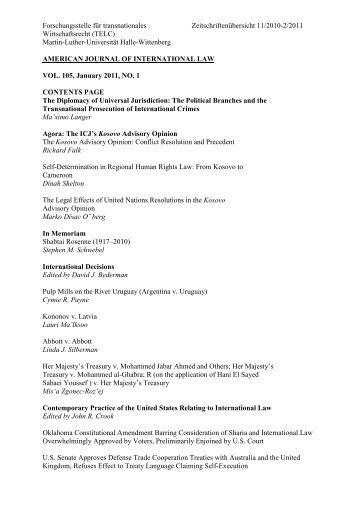 Zeitschriftenübersicht 11.2010-02.2011 - Studiengang Wirtschaftsrecht