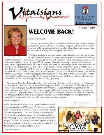 Vital Signs September Issue - School of Nursing - SDSU